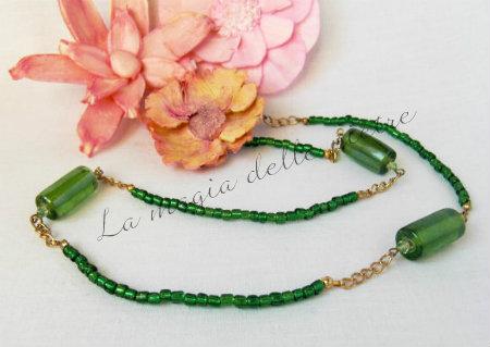 perle di vetro verde