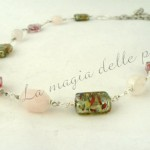 Quarzo rosa e perle di Murano