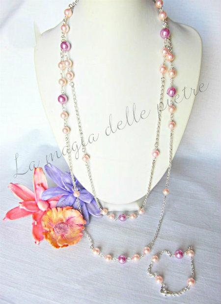 collana in perle rosate