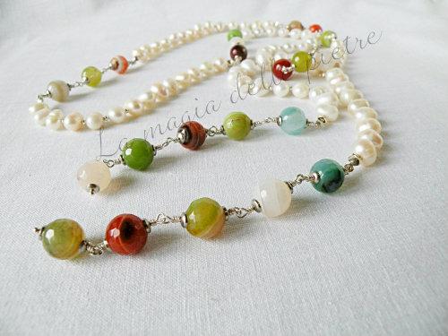 sciarpina perle e agate