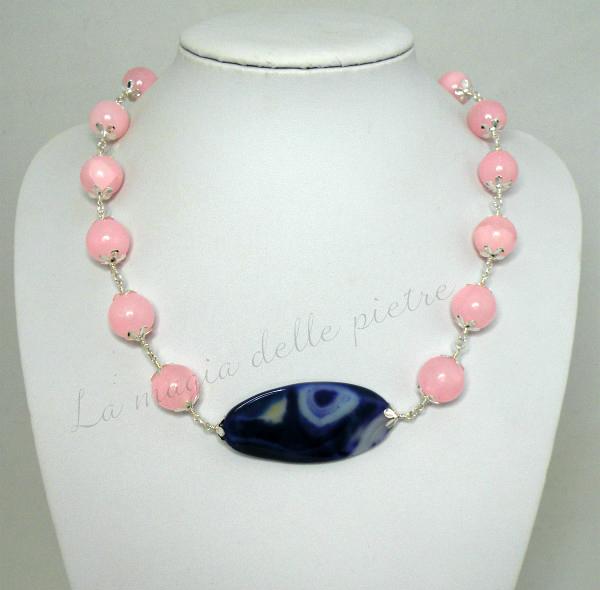 collana di agata rosa