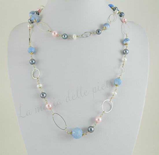 Perle e agata blu